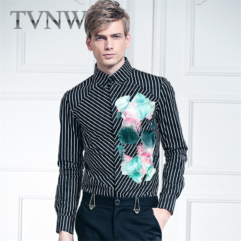 Tvnw urban fashion business casual shirt youth shirt iron striped shirt slim floral printed flowers 0943