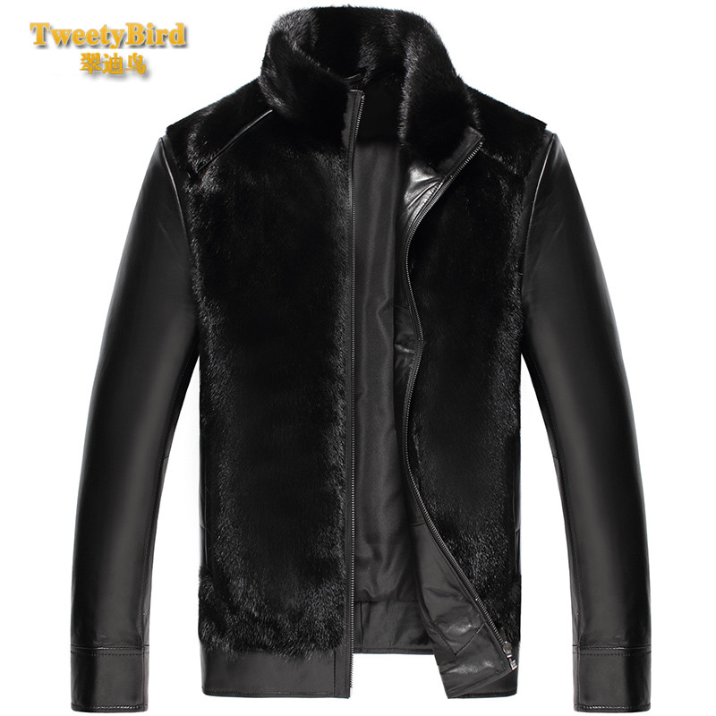 Tweety bird 2016 new winter business casual fashion leather men dress coat zipper slim thick short paragraph