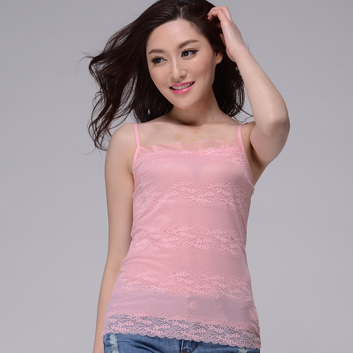 Two layers of lace collar gauze camisole shoulder chest impervious summer t-shirt slim adjustable shoulder strap