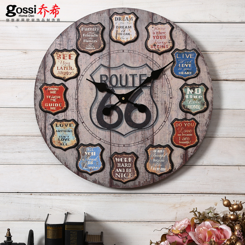 Tyrangiel american countryside nostalgic retro industrial loft style living room wall clock clock watch european decorative wall clock hanging table