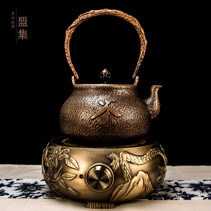Union set handmade 1.4l cast cast copper pot thick copper pot handmade tea zen tea teapot set with electric ceramic heaters