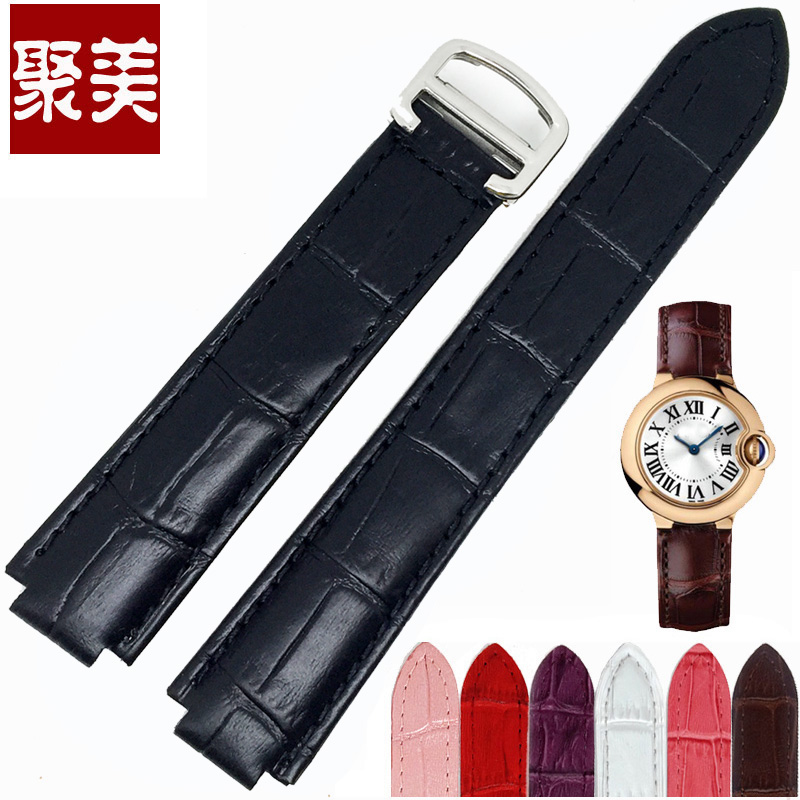 United states together jurchens protruding mouth male genuine leather strap leather strap alternative cartier blue balloon number of medium and small leather strap accessories
