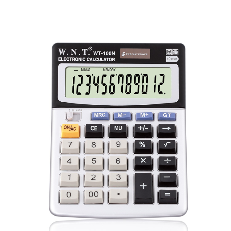 Universal pass WT-100N solar dual power computer keys 12 digits calculator bank dedicated accounting
