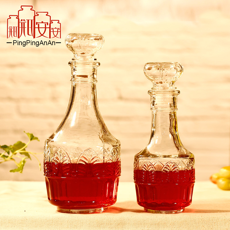 Unleaded thick glass bottle of red wine bottle ann maple leaf lotus carved glass bottle wine storage wine decanters
