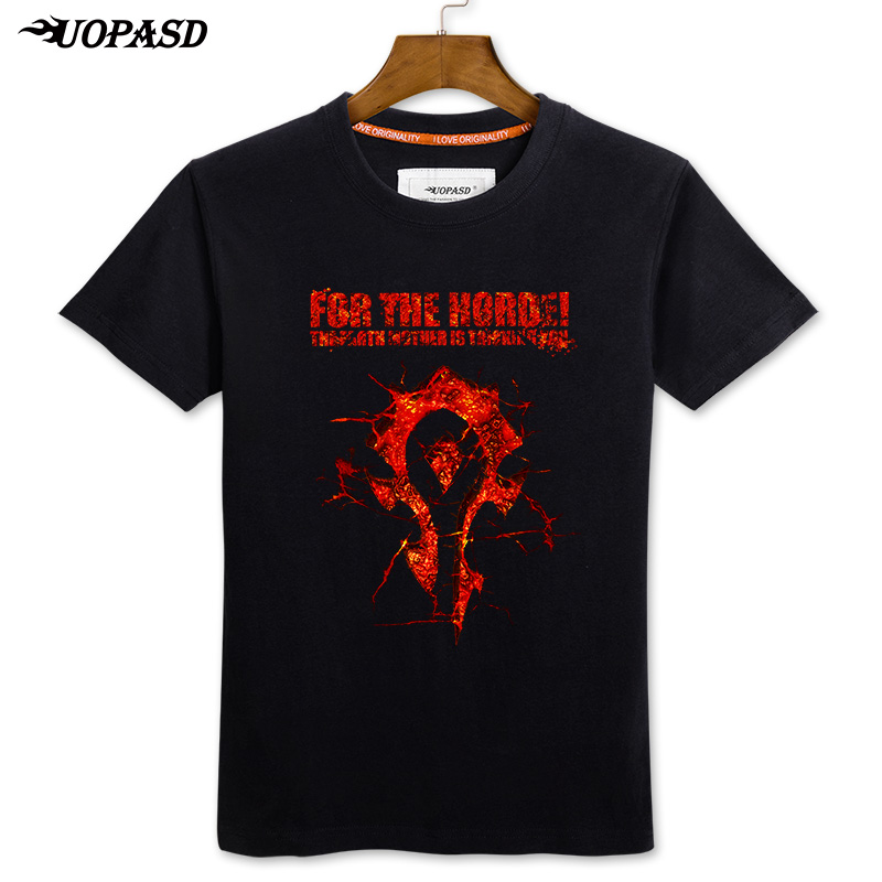 Uopasd summer short sleeve t-shirt dota warcraft flames of world of warcraft a tribal alliance for cotton men tide