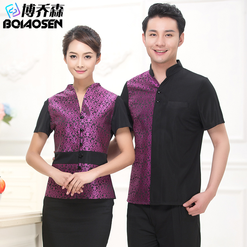Upscale hotel uniforms work clothes for male and female summer hotel restaurant waiter sleeved overalls dining restaurant uniforms