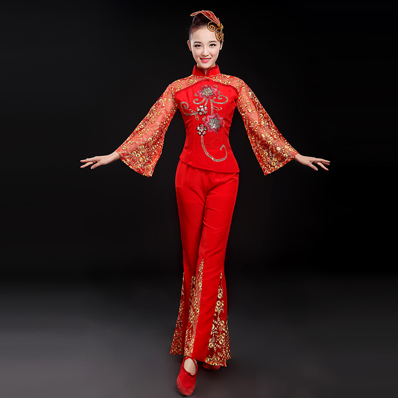 Upscale red yangko dance clothing northeast younger younger clothing elderly square dance costumes ethnic dance costumes dance clothes summer