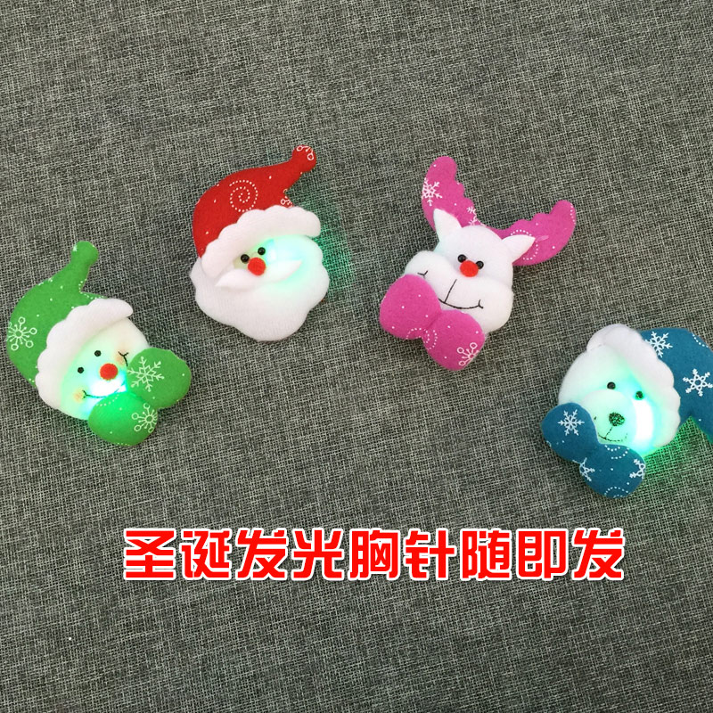 Upscale retro cute little collar pin brooch accessories christmas decorations christmas luminous brooch small gift