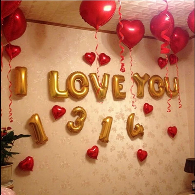 Us billion shang wedding marriage room decorated and furnished supplies 10 loving 18-inch aluminum foil balloons heart shaped balloon