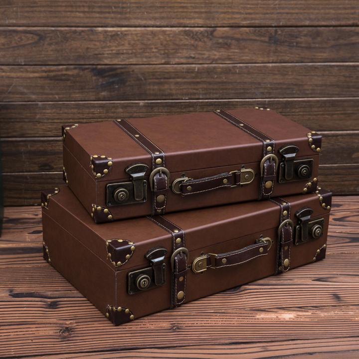 [Us] jing ou european retro vintage luggage suitcase shoot props window decoration display storage & China Vintage Brown Suitcase China Vintage Brown Suitcase Shopping ...