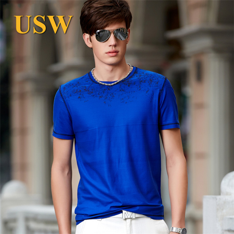 Usw 2015 spring and summer round neck mercerized cotton men's youthful trend comfortable fashion short sleeve t-shirt