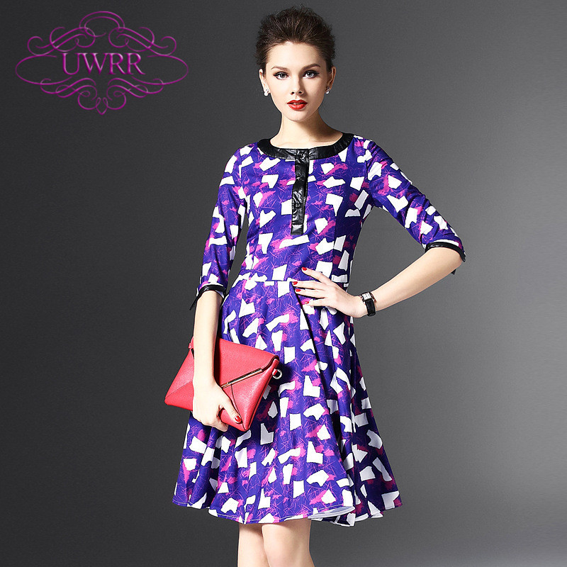 Uwrr custom 2016 spring new women's round neck waist dress with slim sleeve printed dress