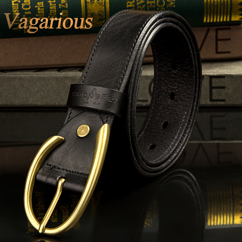Vagarious men belt buckle business casual leather first layer of leather soft surface embossing lap belt