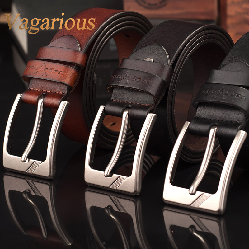 Vagarious pure leather belt men's business casual leather cowboy alloy pin buckle belt black belt loop