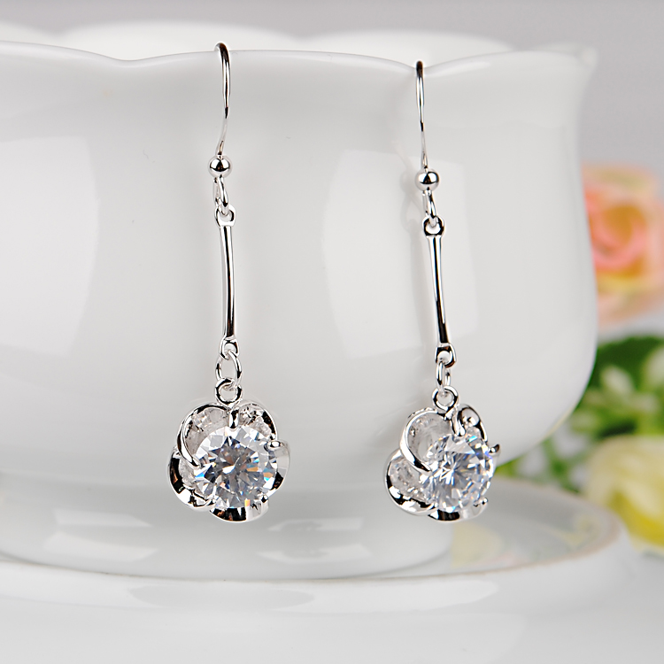 Valentine's day gift rhodium zircon rose flower tassel earrings earrings earrings earrings hypoallergenic color retention