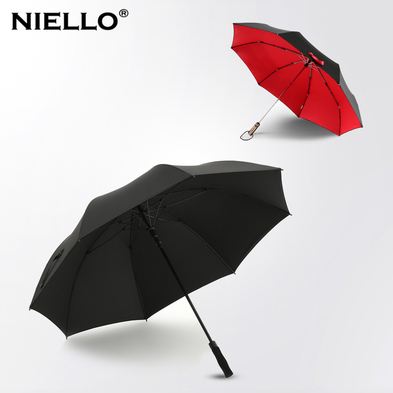 [Value] combination double oversized umbrella automatic umbrella nailuo + double skillet large umbrella against storm