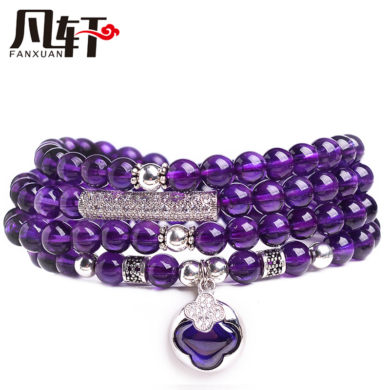 Van xuan uruguay natural amethyst bracelet female 925 sterling silver pendant birthday gift multilayer bracelets