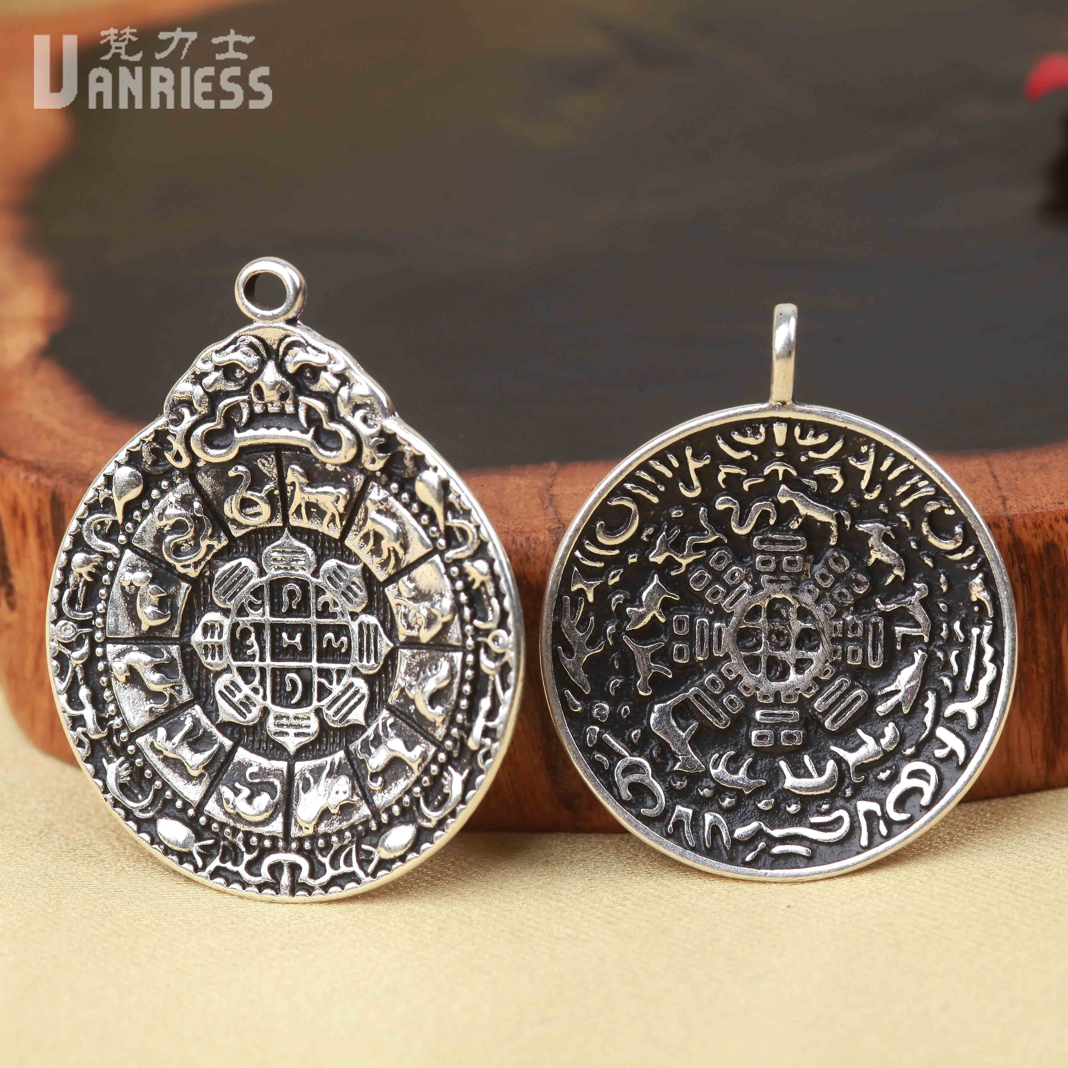Vatican lux combined gold and silver jiugongbagua tag pendant pendant tibetan prayer beads diy accessories bodhi bracelets jewelry
