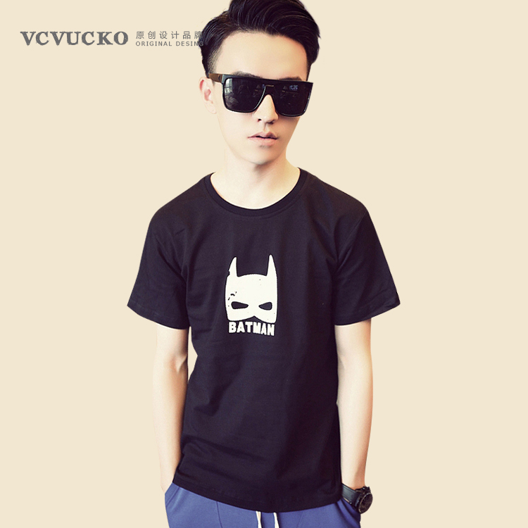 Vc. vucko fresh summer new batman cartoon korean fashion round neck short sleeve t-shirt men tee male