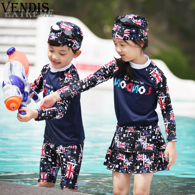 Vendis extreme men and women children baby split skirt piece swimsuit beach swimming trunks cute korean version of blue color