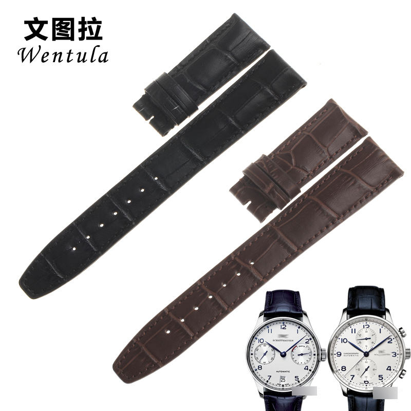 Ventura replacement strap iwc iwc portuguese iw371446 seven chain leather watchband male folding buckle