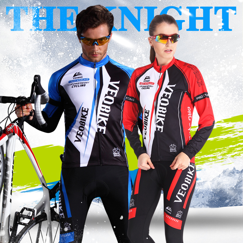 Veobike only faction in autumn and spring and winter thick fleece long sleeve bike jersey suits for men and women riding clothes
