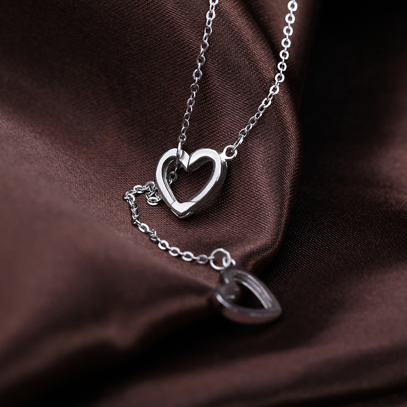Verona 925 silver necklace female simple love heart necklace silver necklace female korean fashion birthday gift