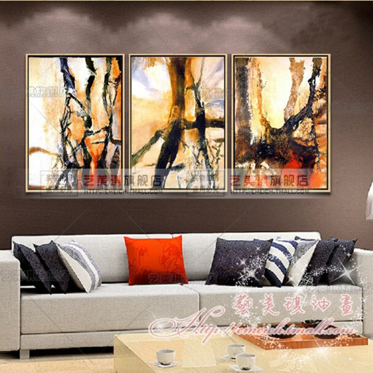 Vertical version of the living room painted oil painting modern minimalist bedroom triple combination of decorative painting copy zao abstract painting with