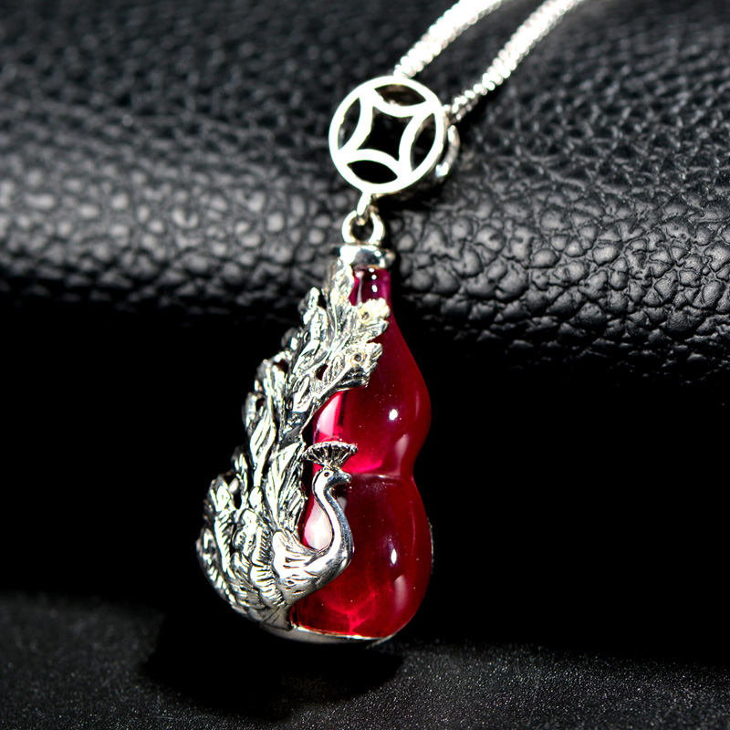 Very thai silver s925 gourd security and peace synthetic ruby pendant female fashion new