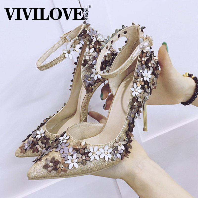 Vichy love 2016 spring and autumn new sequined flowers heels shoes pointed fine with the women's singles shoes women dress shoes tide