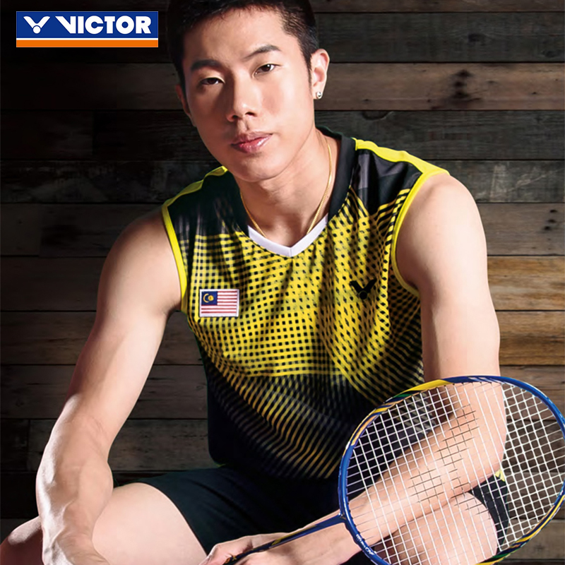 Victor victory badminton clothing men sleeveless t-shirt sports training lee chong wei badminton competition clothing clothing coat