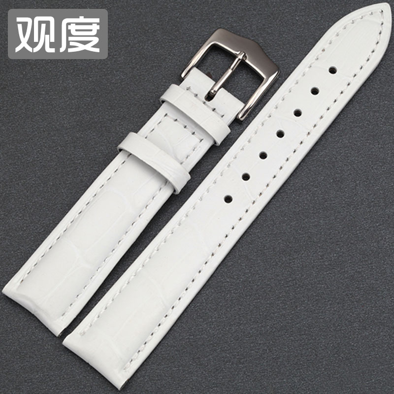 View of the degree of female models girls ladies white leather strap watch band 14 | 16 | 18 | 20 | 22mm ladieswear Belt