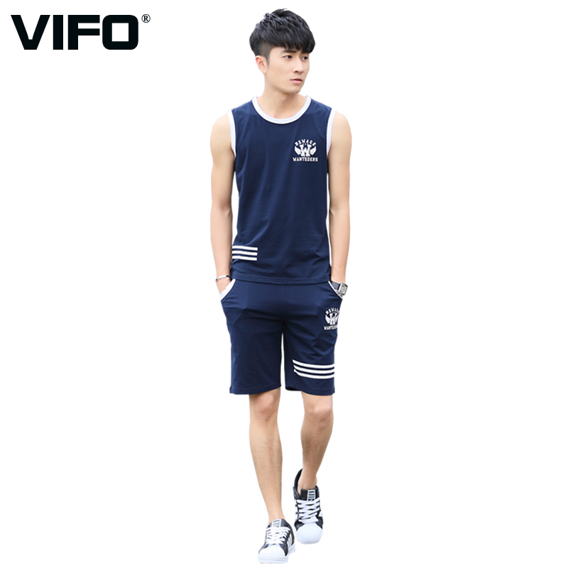 Vifo sports suit men summer cotton sleeveless vest shorts home casual sports clothes workout clothes sportswear