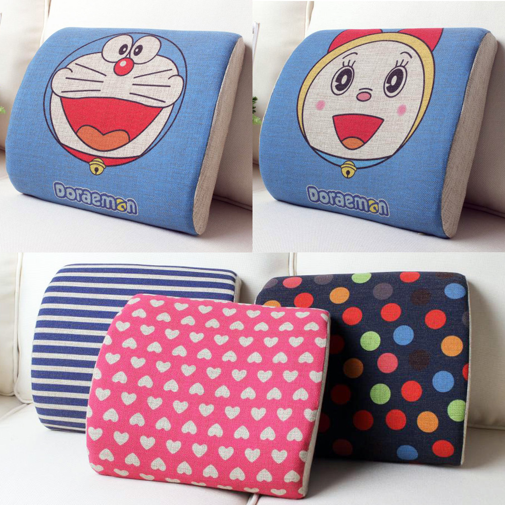 Village color cotton cushion memory foam slow rebound car lumbar support office lumbar cushion pillow cartoon style special clearance