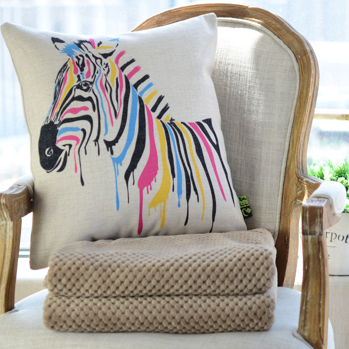 Village color cotton pillow cover cartoon creative pillow cushions are core nordic european air conditioning is cool in summer blanket zebra