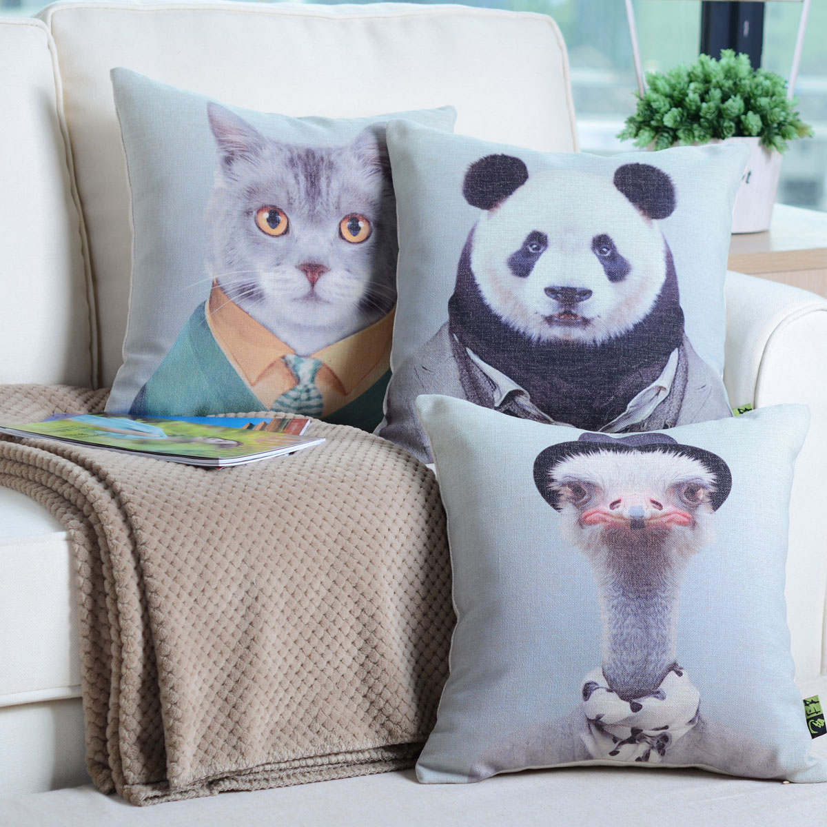 Village color cotton pillow cushion quilt dual core animal blankets cartoon european style towel