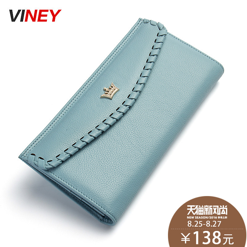 Viney new retro ladies leather wallet money header layer of leather ladies wallet female long section of thin wallet woven hand