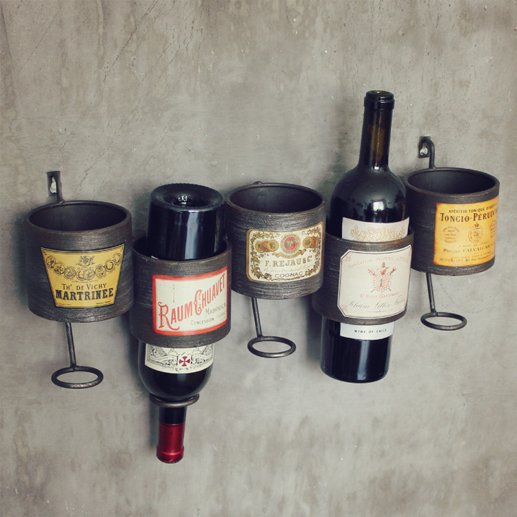 Vintage industrial style loft american style and creative personality decorative wall wine rack storage pieces bar decorative wall hanging wall hangings