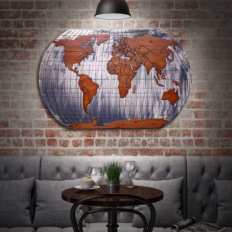 Vintage wrought iron decorative wall map office bar background wall decorations wall hangings paintings and creative industrial wind pendant