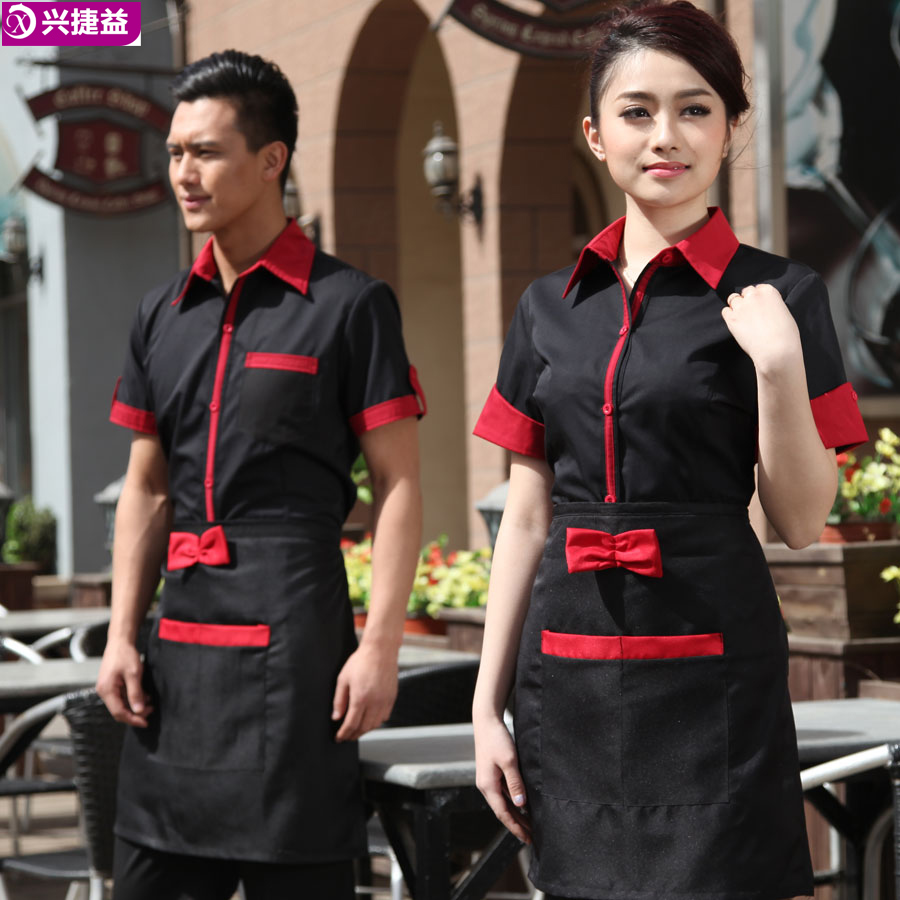 Waiter overalls summer hotel restaurant waiter overalls sleeved clothing hotel restaurant short sleeve summer