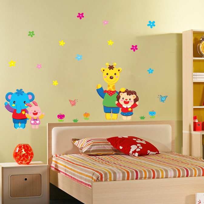 Wall stickers cute cartoon animal world treasure treasure cozy children's room bedroom bedside wall stickers