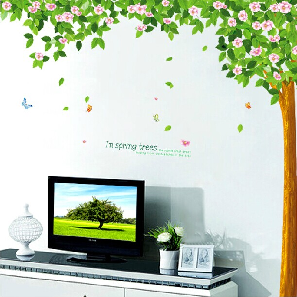 Wall stickers free shipping deals large trees cherry tree bedroom living room sofa tv background wall decoration sticker