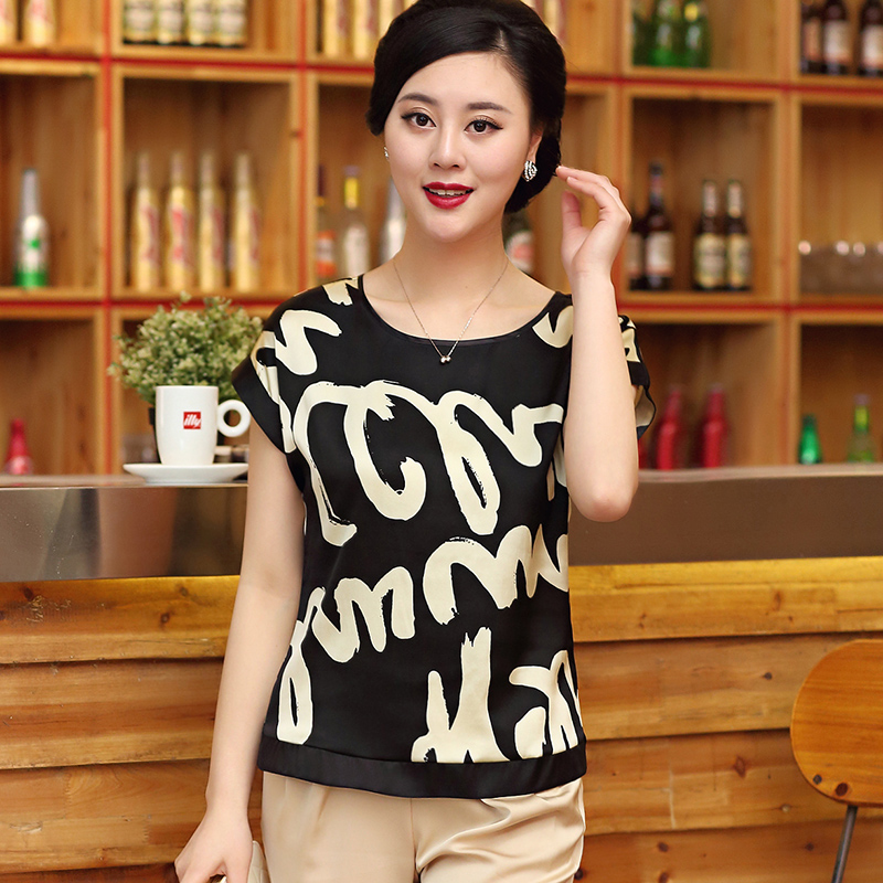 Wan xiang silk real silk round neck short sleeve t-shirt female silk mulberry silk blouse 2016 summer paragraph korean version of casual large size women