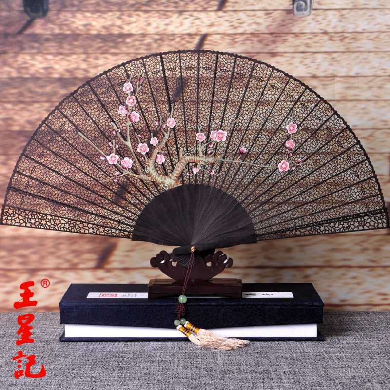 Wangxingji fan andebonyto carved garland wind craft fan folding fan female chinese wind gift with chinese characteristics