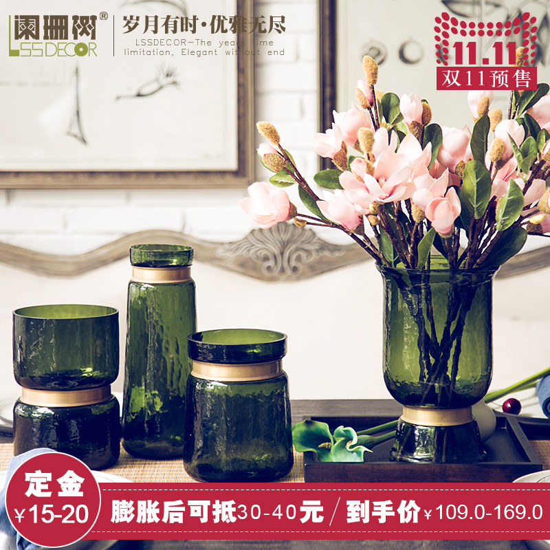 Waning tree-european retro green glass vase living room artificial flowers silk flower vase decorations ornaments