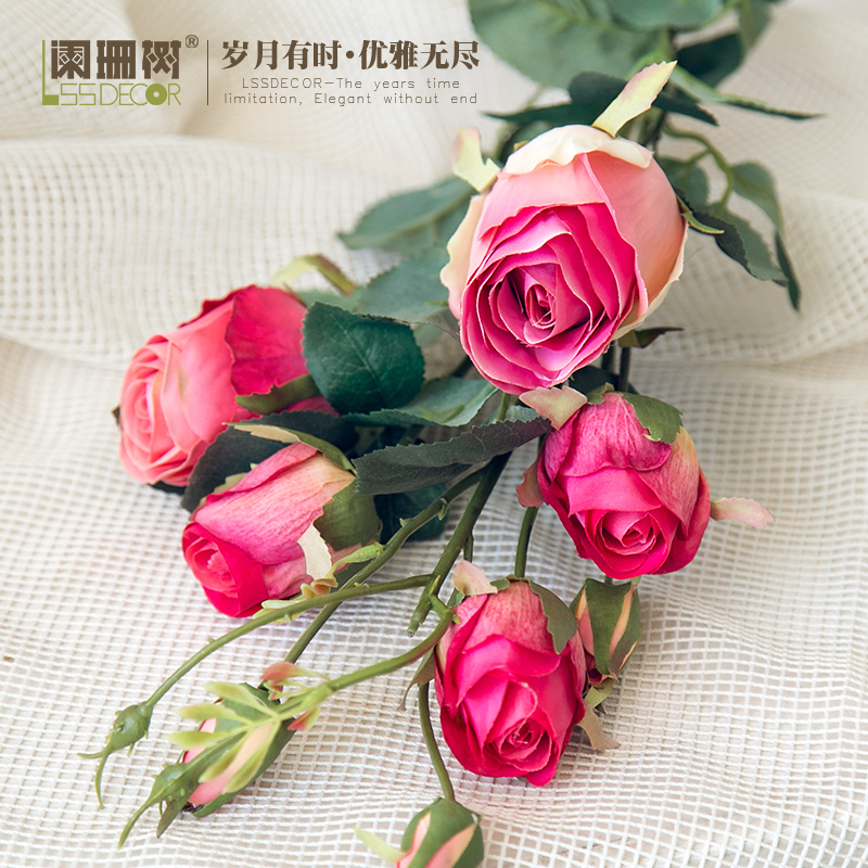 Waning tree-rainbow rose bud silk flower simulation flowers artificial flowers plants flower diy craft ornaments home