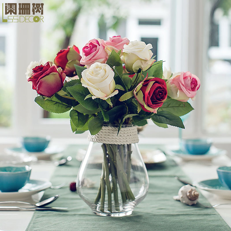 Waning tree thailand rose silk flower artificial flowers artificial flowers suit with a glass vase table decoration artificial flowers free shipping