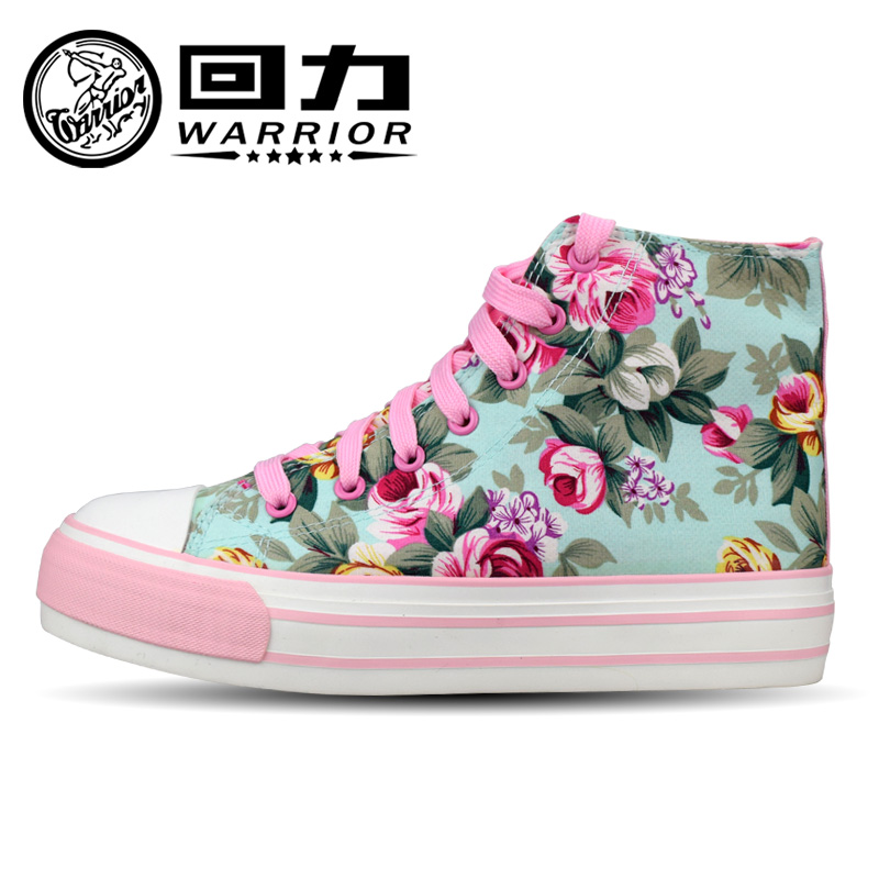 Warrior/warrior new shoes back to power high shoes thick crust muffin floral canvas shoes elevator shoes shoes loafers 589