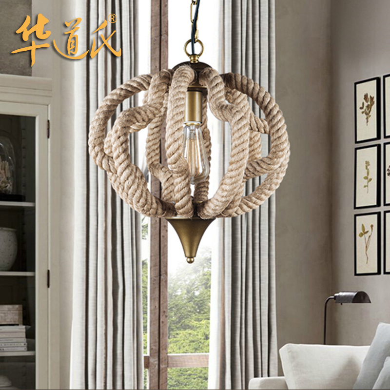 Wa's american country creative personality european retro living room lights restaurant lights iron creative hemptwist droplight