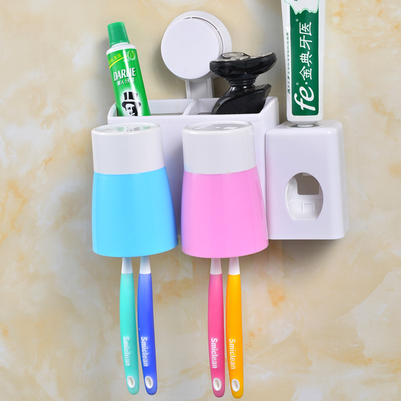 Wash kit creative wall rack wall suction toothbrush holder suction cup toothbrush holder cups automatic toothpaste dispenser with a cup